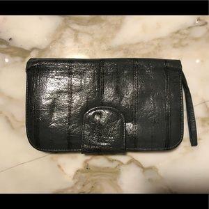 Handbags - Dark Grey Patent Leather Wallet Clutch